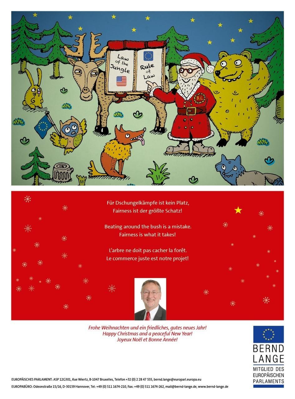Weihnachtskarte von Bernd Lange. Für Dschungelkämpfe ist kein Platz, Fairness ist der größte Schatz! Frohe Weihnachten und ein friedliches, gutes neues Jahr! Wünscht Bernd Lange.
