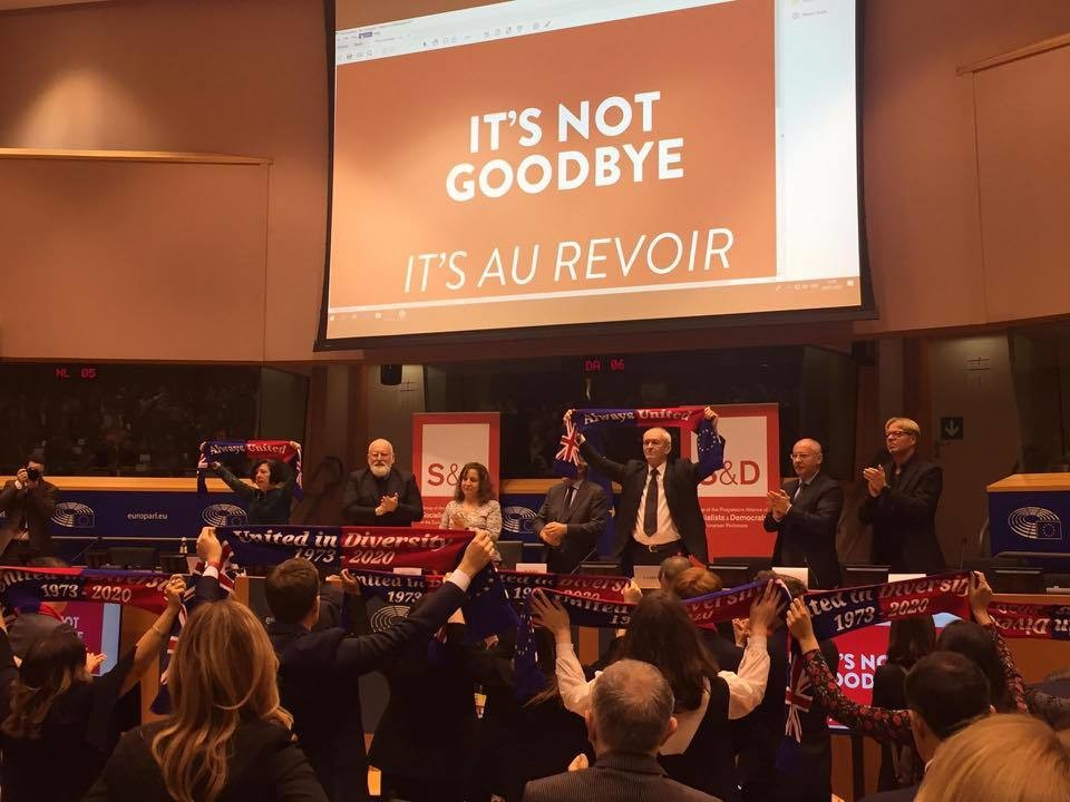 Foto von der Abschiedsfeier der Labour-Abgeordneten in der Sozialdemokratischen Fraktion des Europäischen Parlaments